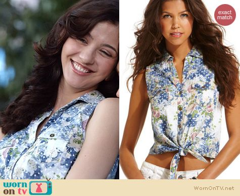 Carrie Diaries Fashion: American Rag Floral Tie front shirt worn by Katie Findlay