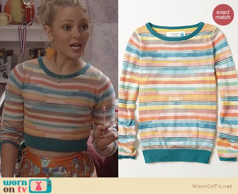 The Carrie Diaries Fashion: Anthropologie Sheerstripe Pullover worn by AnnaSophia Robb
