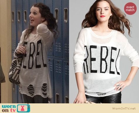 The Carrie Diaries Fashion: Aqua Rebel Sweater worn by Stefania Owen