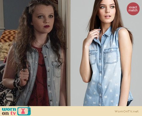 The Carrie Diaries Fashion: Aqua Skull Print Sleeveless Shirt worn by Stefania Owen