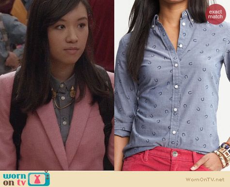 The Carrie Diaries Fashion: Banana Republic Horseshoe Print Chambray Shirt