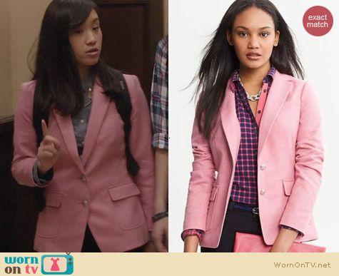 The Carrie Diaries Fashion: Banana Republic Pink Hacking Jacket worn by Jill Wong