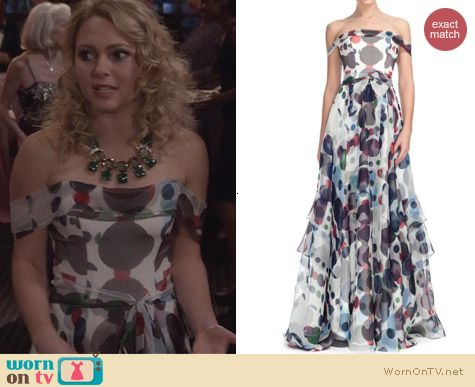 The Carrie Diaries Fashion: Carolina Herrera Polka Dot Pre-Fall 2013 Gown worn by AnnaSophia Robb
