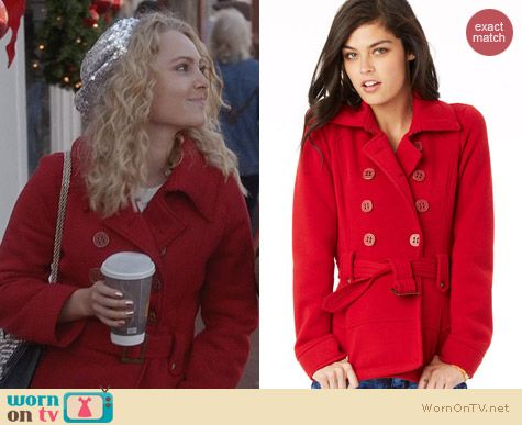 The Carrie Diaries Fashion: Delias Belted Fleece Peacoat worn by AnnaSophia Robb