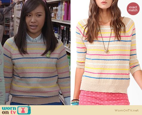 The Carrie Diaries Fashion: Forever 21 Striped Pullover worn by Mouse