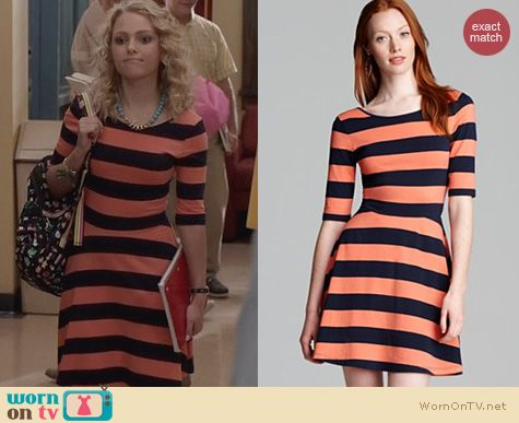 The Carrie Diaries Fashion: French Connection Fun Stripe Skater Dress worn by Carrie Bradshaw
