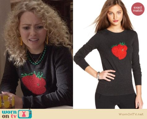 The Carrie Diaries Fashion: French Connection Strawberry Sweater worn by AnnaSophia Robb