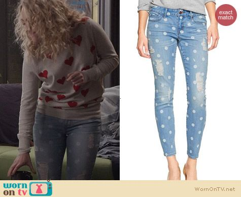 The Carrie Diaries Fashion: GAP 1969 Deconstructed skinny polka dot jeans worn by Carrie Bradshaw