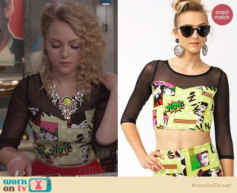 The Carrie Diaries Fashion: Go Jane Dotted Comic Crop Top worn by Annasophia Robb