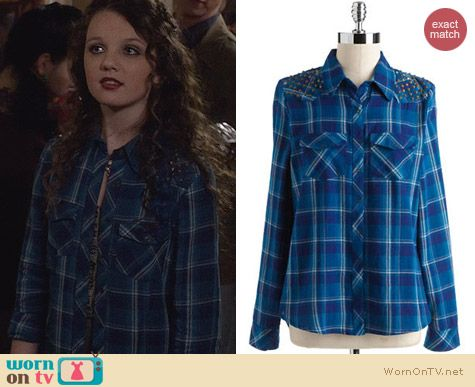 Fashion of The Carrie Diaries: Guess Studded Plaid Shirt worn by Stefania Owen
