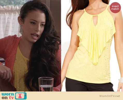 INC International Concepts Yellow Halter Ruffle Keyhole Top worn by Chloe Bridges on The Carrie Diaries