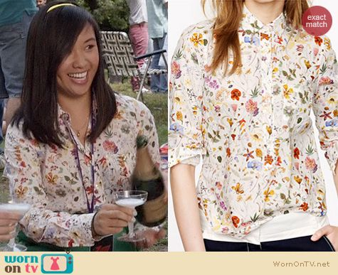 Carrie Diaries Fashion: J. Crew Liberty Popover in Floral Eve worn by Ellen Wong