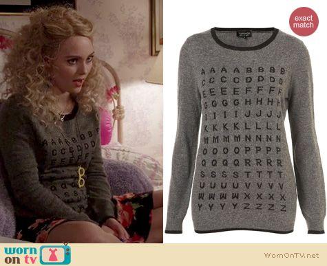 b4fc7c1604c4 WornOnTV  Carrie s grey alphabet sweater on The Carrie Diaries ...