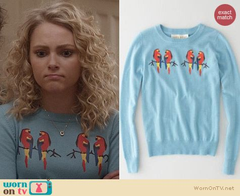 The Carrie Diaries Fashion: Lauren Moffatt Parrot Sweater worn by AnnaSophia Robb