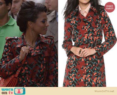 The Carrie Diaries Fashion: M Missoni Digital Camo Trench worn by Freema Agyeman