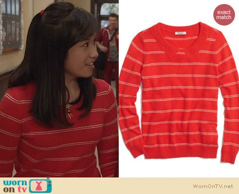 The Carrie Diaries Fashion: Madewell Striped Collar Sweater worn by Ellen Wong