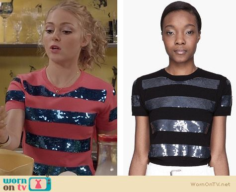 The Carrie Diaries Fashion: Marc by Marc Jacobs Sequin Striped Tee worn by AnnaSophia Robb