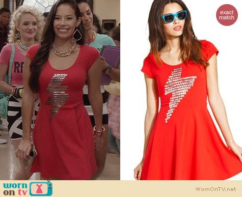 The Carrie Diaries Fashion: Material Girl Lightning Bolt Skater Dress worn by Chloe Bridges
