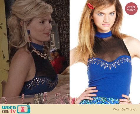 The Carrie Diaries Fashion: Material Girl Studded Mock Neck Illusion Top worn by Lindsey Gort
