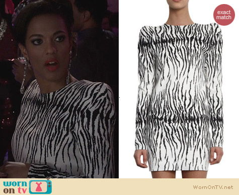 The Carrie Diaries Fashion: Mugler Strong Shoulder Tiger Dress worn by Freema Agyeman