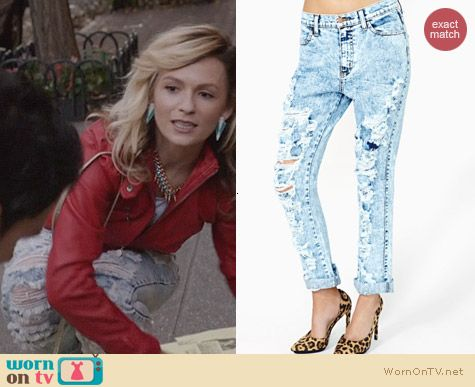 Nasty Gal Breakup Shredded Jeans worn by Lindsey Gort on The Carrie Diaries