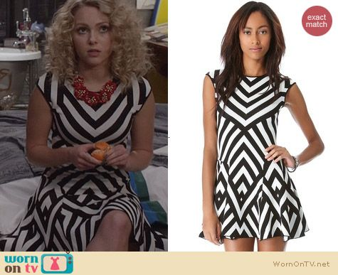 The Carrie Diaries Fashion: RVN Graphic Stripe Flare Dress worn by AnnaSophia Robb