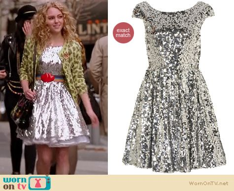 Carrie Diaries Fashion: Silver sequin Topshop dress worn by Carrie Bradshaw