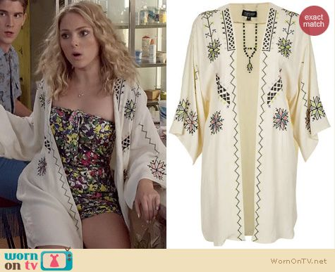 The Carrie Diaries Fashion: Topshop Aztec Embroidered Kimono worn by Carrie Bradshaw