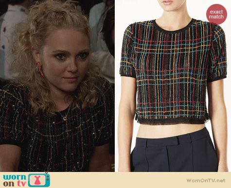 The Carrie Diaries Fashion: Topshop Check Embellished top worn by Annasophia Robb