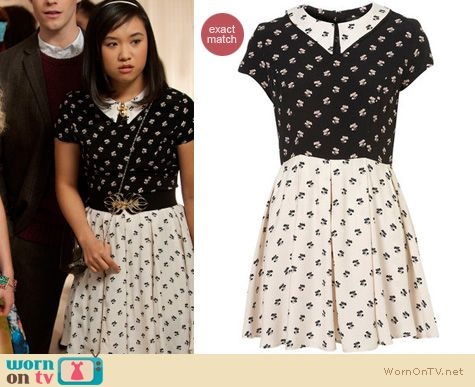 Carrie Diaries Fashion: Topshop contrast collar dress worn by Ellen Wong