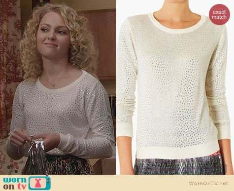 The Carrie Diaries Fashion: Topshop Embellished Knit Sweater worn by AnnaSophia Robb