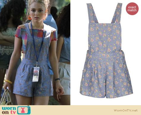 The Carrie Diaries Fashion: Topshop Floral Chambray Playsuit worn by AnnaSophia Robb