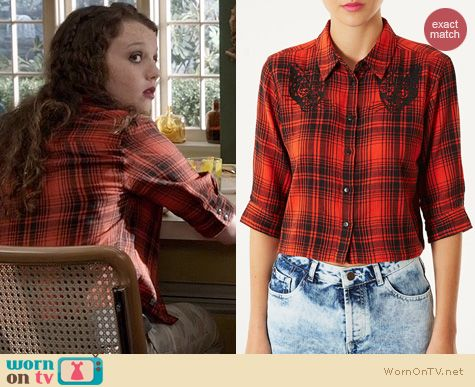The Carrie Diaries Fashion: Topshop Panther Applique Crop Shirt worn by Dorritt Bradshaw
