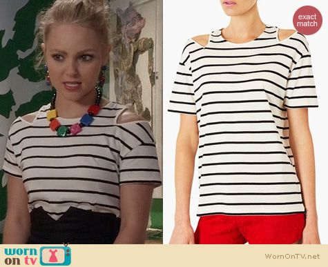 The Carrie Diaries Fashion: Topshop Split Shoulder Stripe Tee worn by Carrie Bradshaw