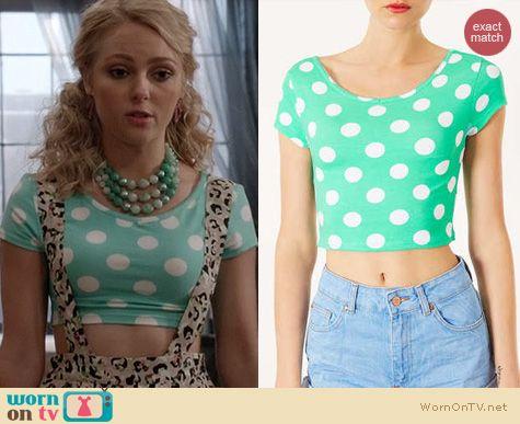 The Carrie Diaries Fashion: Topshop spot bardot crop top worn by AnnaSophia Robb