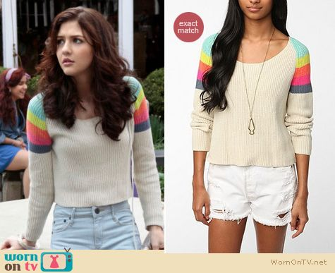 e2bd2ebf63 WornOnTV  Maggie s rainbow striped shoulder sweater on The Carrie ...