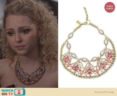 The Carrie Diaries Jewellery: Badgley Mischka Mixed Stone Necklace in Pink worn by AnnaSophia Robb