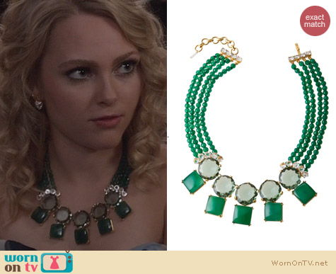 The Carrie Diaries Jewelry: Bounkit Green Double Row Statement Necklace worn by AnnaSophia Robb