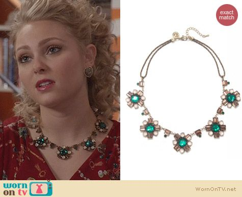 The Carrie Diaries Jewellry: Capwell Emerald Stone Cluster Necklace worn by AnnaSophia Robb