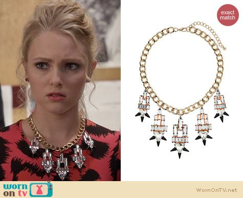 The Carrie Diaries Jewelry: Topshop Premium Crystal Spike Necklace worn by Carrie Bradshaw