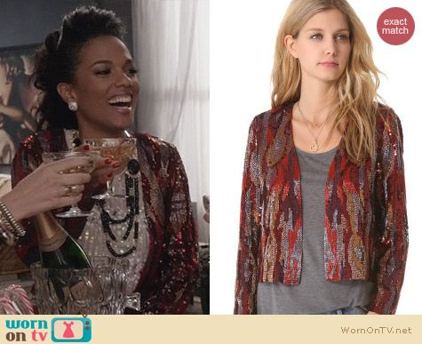The Carrie Diaries Outfits: Haute Hippie Sequin Snake Jacket worn by Larissa