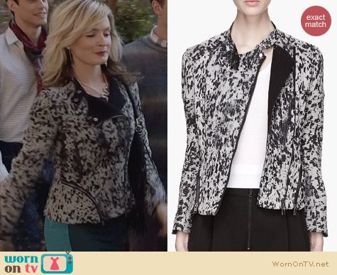 The Carrie Diaries Style: 3.1 Phillip Lim Speckled Corded Silk Motorcycle Jacket worn by Lindsey Gort