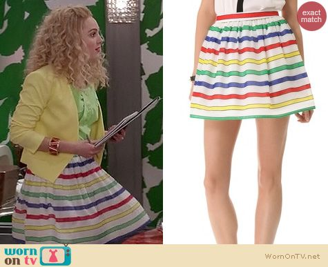 The Carrie Diaries Style: Alice & Olivia belted striped flare skirt worn by AnnaSophia Robb