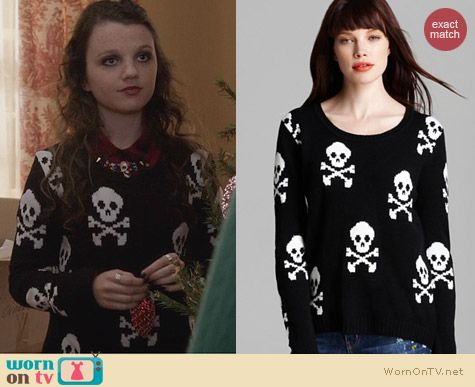The Carrie Diaries Style: Aqua Skull & Cross Bones Sweater worn by Dorrit Bradshaw