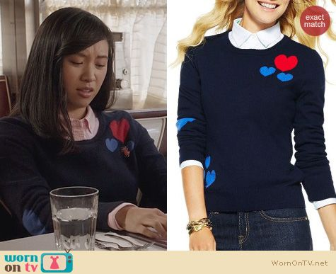 The Carrie Diaries Style: C Wonder Scattered Hearts Sweater worn by Ellen Wong