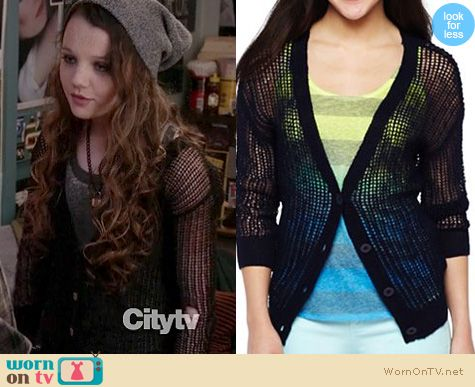 The Carrie Diaries Style: Dorrit Bradshaws black netted cardigan on The Carrie Diaries
