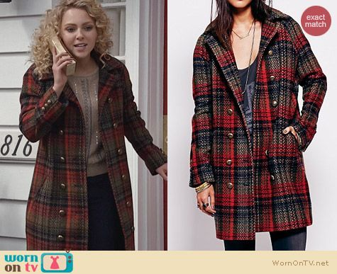 The Carrie Diaries Style: Free People Plaid Wool Cocoon Coat worn by AnnaSophia Robb