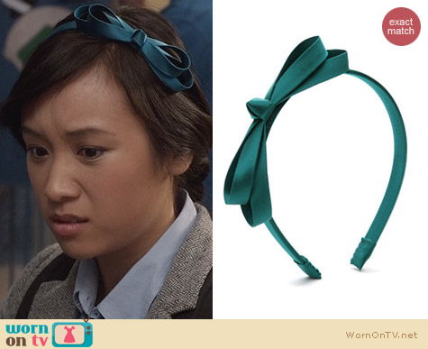 The Carrie Diaries Style: L. Erickson Lagoon Double Loop Bow Headband worn by Ellen Wong