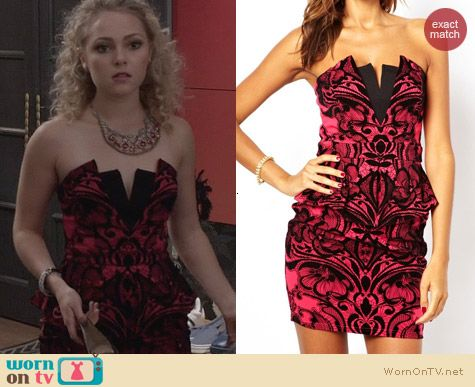 The Carrie Diaries Style: Lipsy Bandeau Dress with Flocking worn by AnnaSophia Robb