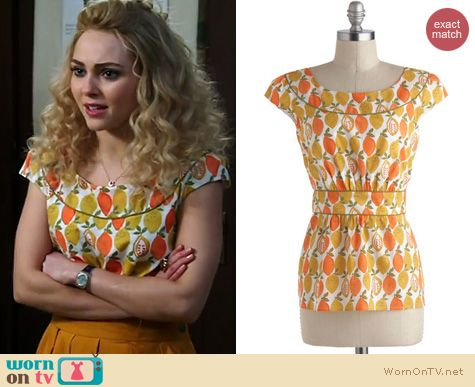 The Carrie Diaries Style: ModCloths Cool with me top in citrus worn by Emily and Fin